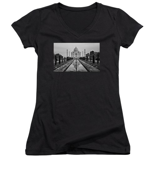 Women's V-Neck T-Shirt (Junior Cut) featuring the photograph Taj Mahal In Black And White by Jacqi Elmslie