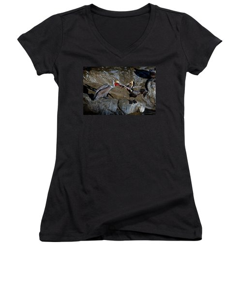 Taking A Bite Women's V-Neck T-Shirt (Junior Cut) by James David Phenicie