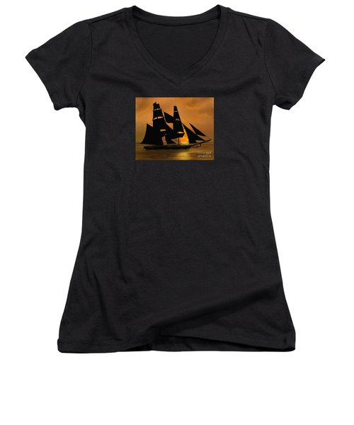 Women's V-Neck T-Shirt (Junior Cut) featuring the painting Tall Ship With A Harvest Moon by Judy Filarecki