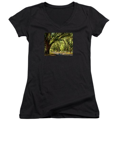 Tallahassee Canopy Road Women's V-Neck T-Shirt (Junior Cut) by Carla Parris