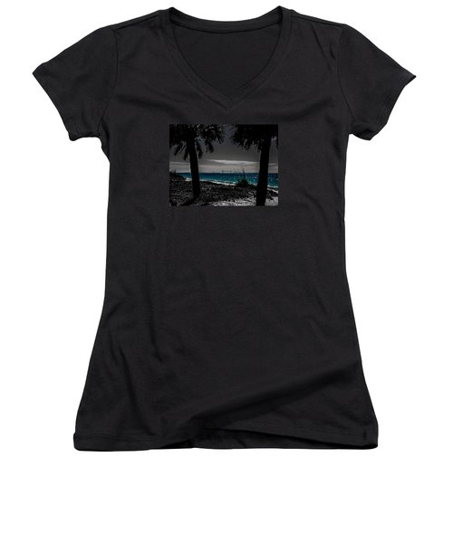 Women's V-Neck T-Shirt (Junior Cut) featuring the photograph Tampa Bay Blue by Randy Sylvia