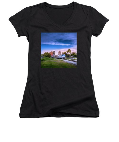 Women's V-Neck T-Shirt (Junior Cut) featuring the photograph Tampa Departure by Marvin Spates