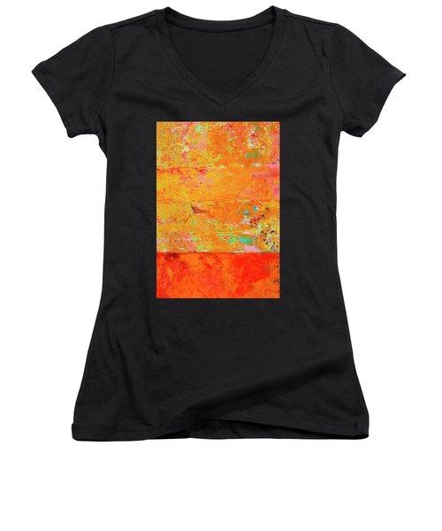 Women's V-Neck T-Shirt (Junior Cut) featuring the photograph Tangerine Dream by Skip Hunt