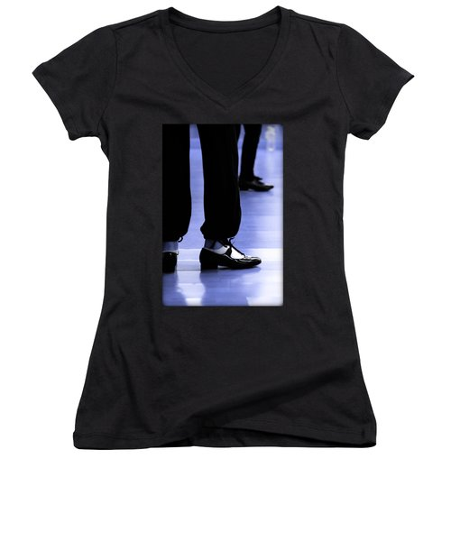 Tap Dance In Blue Are Shoes Tapping In A Dance Academy Women's V-Neck T-Shirt (Junior Cut)