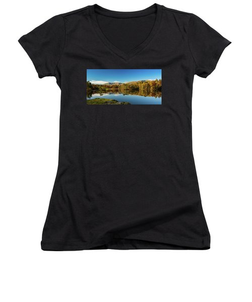 Tarn Hows Women's V-Neck T-Shirt (Junior Cut) by Mike Taylor