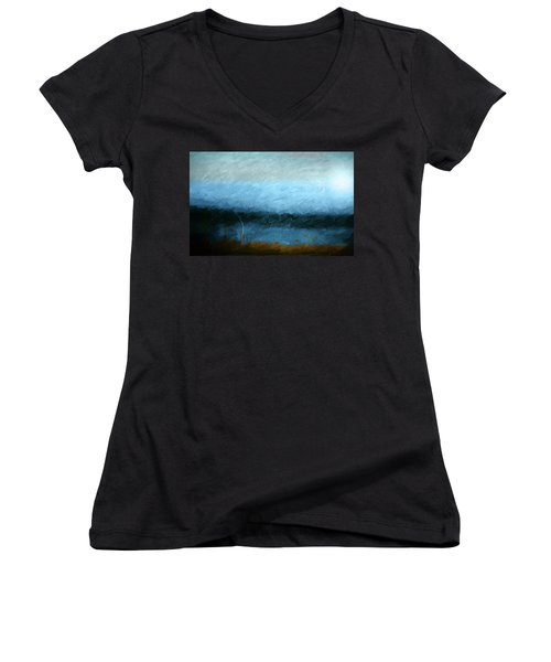Women's V-Neck T-Shirt (Junior Cut) featuring the photograph Tarn by Linde Townsend