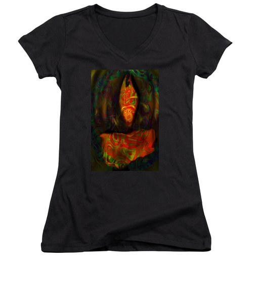 Tarot Candle Women's V-Neck T-Shirt (Junior Cut) by Kevin Caudill