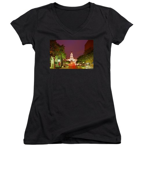 Tarrant County Courthouse At Twilight - Fort Worth North Texas Women's V-Neck