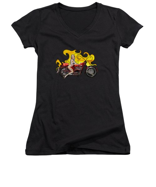 Tattoo Pinup Girl On Her Motorcycle Women's V-Neck T-Shirt (Junior Cut) by Tom Conway