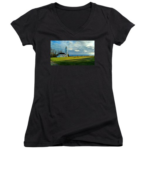 Sturgeon Point Lighthouse Women's V-Neck (Athletic Fit)