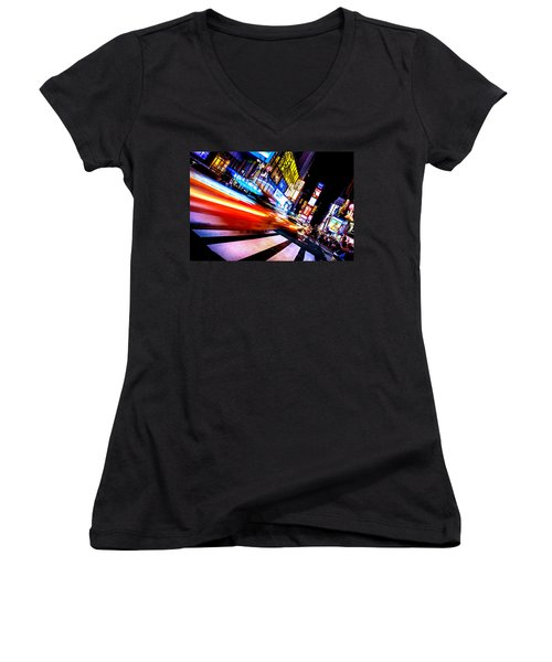 Taxis In Times Square Women's V-Neck T-Shirt (Junior Cut) by Az Jackson