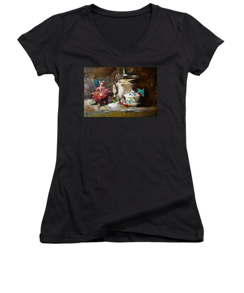 Tea Time Women's V-Neck T-Shirt (Junior Cut) by Khalid Saeed