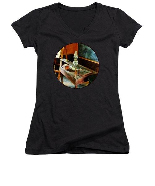 Teacher - Teacher's Desk With Hurricane Lamp Women's V-Neck T-Shirt (Junior Cut) by Susan Savad