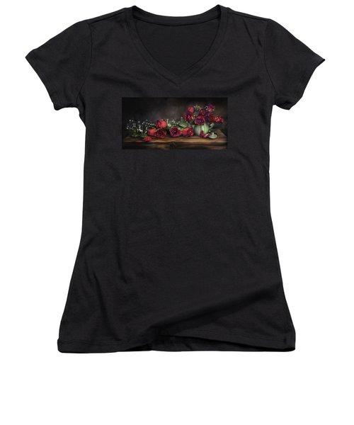Women's V-Neck T-Shirt (Junior Cut) featuring the digital art Teapot Roses by Susan Kinney
