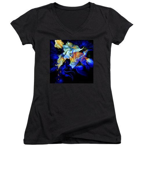 Women's V-Neck T-Shirt featuring the painting Tears In My Garden by Hanne Lore Koehler