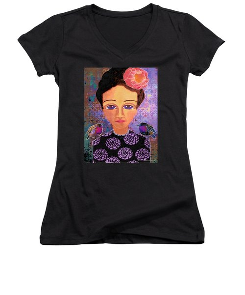 Women's V-Neck T-Shirt (Junior Cut) featuring the digital art Telling Secrets by Lisa Noneman
