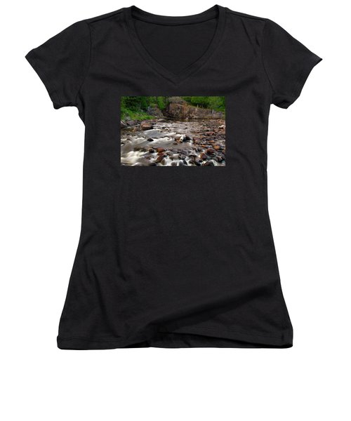 Temperance River Women's V-Neck T-Shirt (Junior Cut) by Steve Stuller