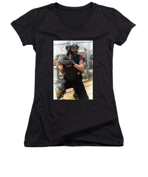 Temple University Bullpen Catcher Women's V-Neck T-Shirt (Junior Cut) by Mike Martin