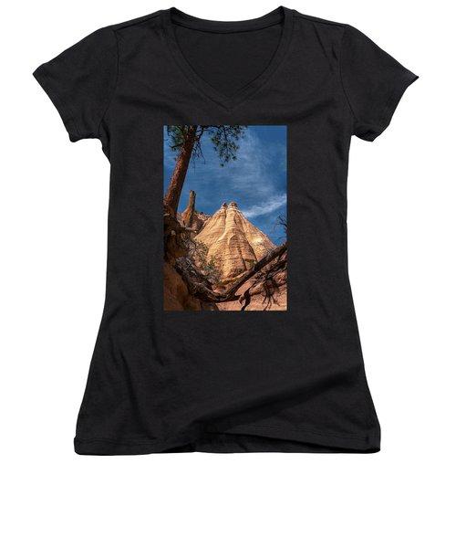 Tent Rock And Ponderosa Pine Women's V-Neck