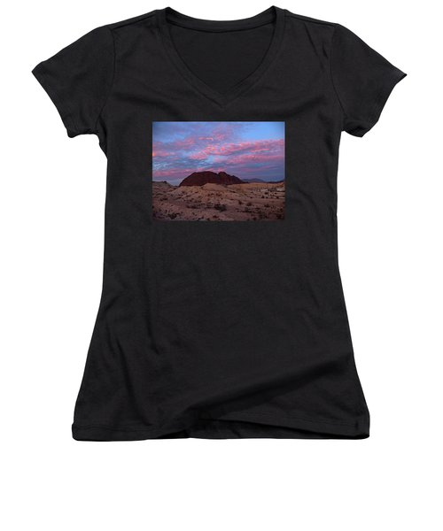 Women's V-Neck T-Shirt (Junior Cut) featuring the painting Terlingua Sunset by Dennis Ciscel