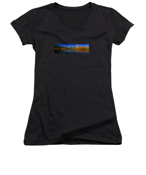 Tetons From Oxbow Bend Women's V-Neck T-Shirt (Junior Cut) by Raymond Salani III