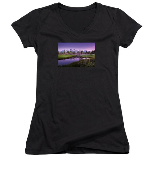 Tetons In Pink Women's V-Neck T-Shirt (Junior Cut) by Mary Angelini