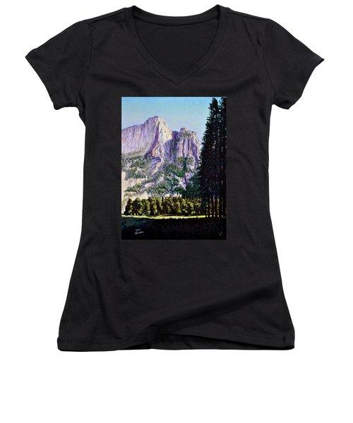 Tetons Women's V-Neck T-Shirt (Junior Cut) by Stan Hamilton