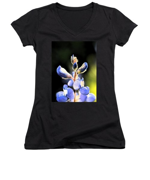 Women's V-Neck T-Shirt (Junior Cut) featuring the photograph Texas Blue Bonnet Impressions 1 by Carolina Liechtenstein
