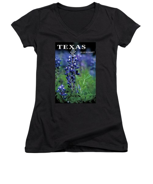 Women's V-Neck T-Shirt (Junior Cut) featuring the mixed media Texas Bluebonnet State Flower by Daniel Hagerman
