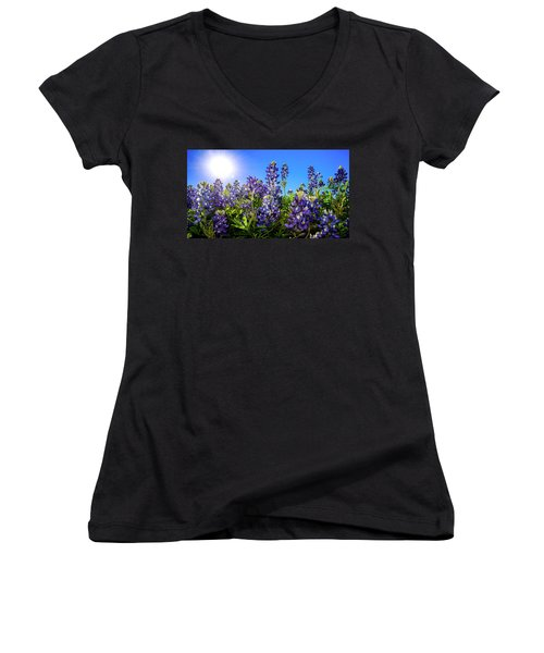 Texas Bluebonnets Backlit II Women's V-Neck T-Shirt (Junior Cut) by Greg Reed
