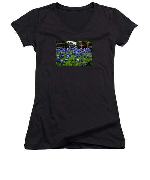 Texas Bluebonnets In Ennis Women's V-Neck (Athletic Fit)