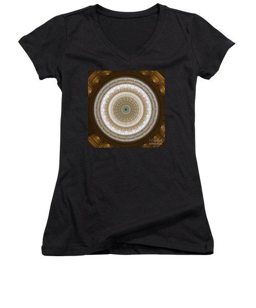 Women's V-Neck T-Shirt (Junior Cut) featuring the photograph Texas Capital by Robert Meanor