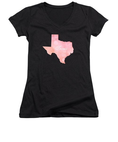 Texas Pink And Coral Bokeh Women's V-Neck (Athletic Fit)