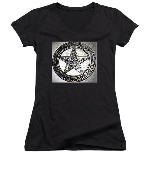 Women's V-Neck T-Shirt (Junior Cut) featuring the photograph Texas Ranger Badge by George Pedro