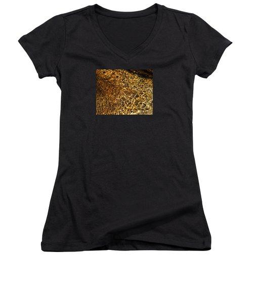 Women's V-Neck T-Shirt (Junior Cut) featuring the photograph Texture Of A Stream by Lynda Lehmann