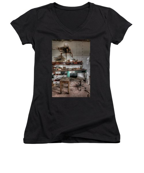 Women's V-Neck T-Shirt (Junior Cut) featuring the digital art Th Mad Scientist  by Nathan Wright