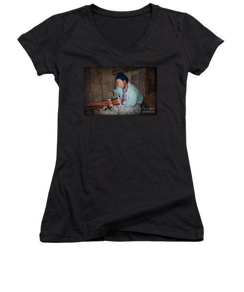 Women's V-Neck T-Shirt (Junior Cut) featuring the photograph Thai Weaving Tradition by Heiko Koehrer-Wagner