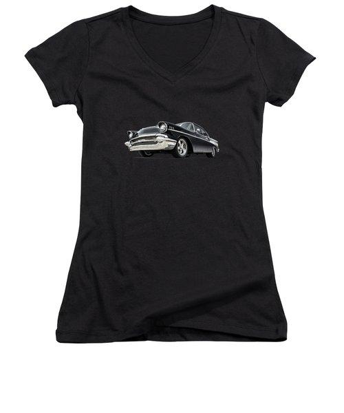 The 57 Chevy Women's V-Neck T-Shirt (Junior Cut) by Douglas Pittman