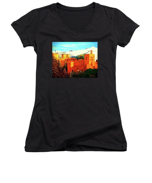 The Alhambra Of Granada Women's V-Neck T-Shirt (Junior Cut) by Manuel Sanchez