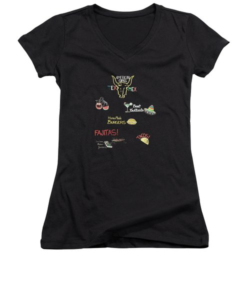 The American Grill Women's V-Neck T-Shirt (Junior Cut) by Mark Rogan