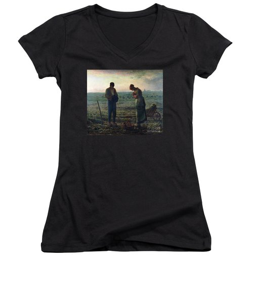 The Angelus Women's V-Neck T-Shirt (Junior Cut) by Jean-Francois Millet