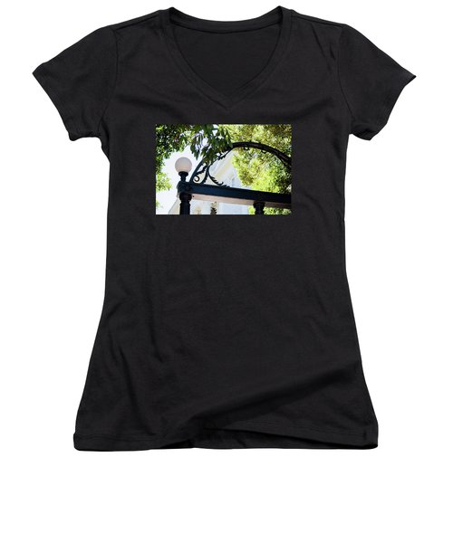 Women's V-Neck T-Shirt (Junior Cut) featuring the photograph The Arch by Parker Cunningham