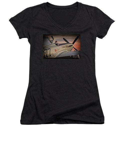 The Aviator Jimmy Leeward Redux For Tees Women's V-Neck T-Shirt