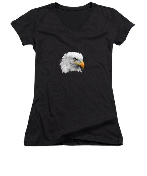 The Bald Eagle Women's V-Neck T-Shirt (Junior Cut) by Mark Rogan