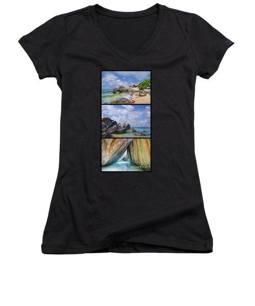 The Baths Virgin Gorda National Park Triptych Women's V-Neck T-Shirt (Junior Cut) by Olga Hamilton