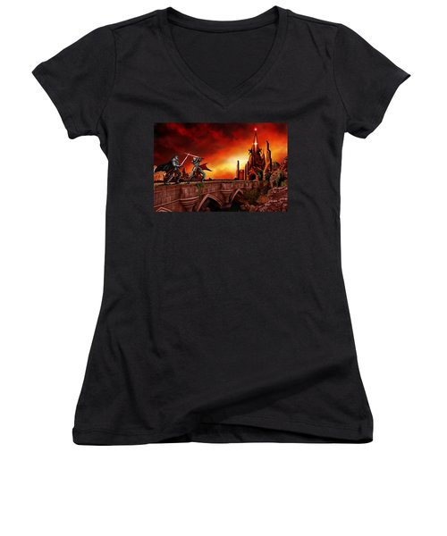The Battle For The Crystal Castle Women's V-Neck T-Shirt (Junior Cut) by James Christopher Hill