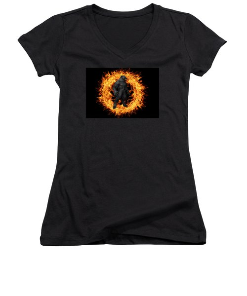 The Beast Emerges From The Ring Of Fire Women's V-Neck (Athletic Fit)