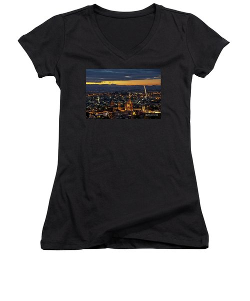 The Beautiful Spanish Colonial City Of San Miguel De Allende, Mexico Women's V-Neck T-Shirt (Junior Cut) by Sam Antonio Photography