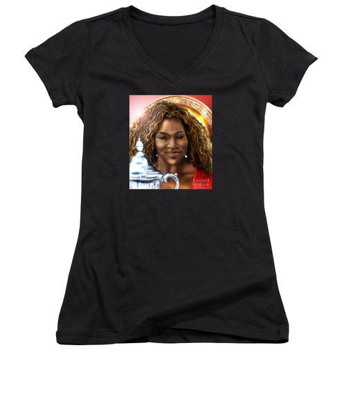 The Beauty Victory That Is Serena Women's V-Neck T-Shirt (Junior Cut) by Reggie Duffie