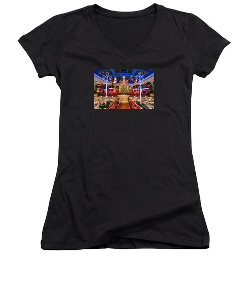 The Bellagio Christmas Tree And Decorations 2015 Women's V-Neck T-Shirt (Junior Cut) by Aloha Art